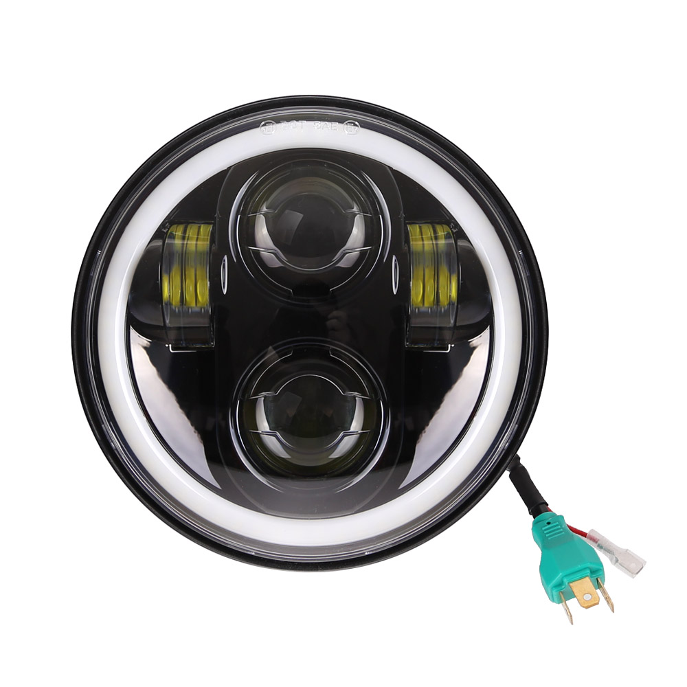 5.75 pouces phare LED anneau halo blanc DRL Angel eye pour Harley Sportster Touring-Super Glide Dyna 5 3/4