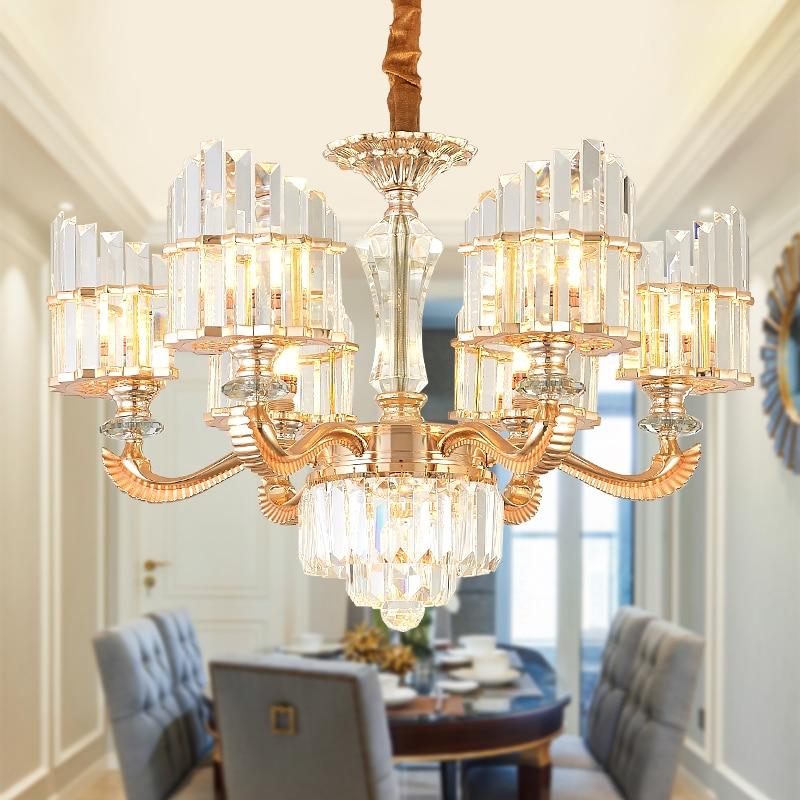Luminaire suspendu en cristal moderne luminaire suspendu en cristal doré S européen lampe suspendue éclairage intérieur de l'hôtel lampe 6/8/15