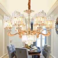 Luces colgantes de cristal moderno accesorio Europeo S cristal dorado lámpara colgante lámpara de Hotel hogar iluminación interior 6/8 /15 de la lámpara