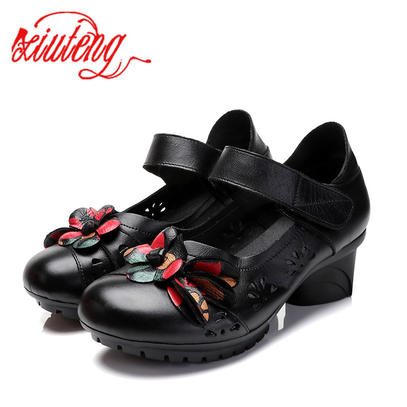Xiuteng 2019 new Genuine Leather shoes in the summer with the national wind middle-aged mother sandals Casual hole shoesXiuteng 2019 new Genuine Leather shoes in the summer with the national wind middle-aged mother sandals Casual hole shoes