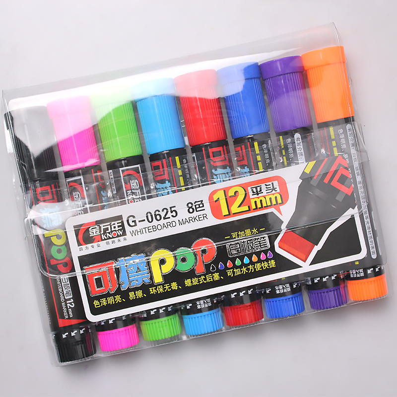 KNOW POP Art Marker 8 Colors/Set 12 mm Repeated Filling Ink Marker Set Best For Manga Poster Advertising Supplies