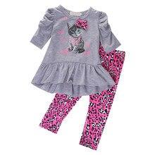 Коллекция 2017 года, весенне-осенние комплекты одежды для маленьких девочек с милым принтом кота, футболка Топы с бантом, штаны с леопардовым ...