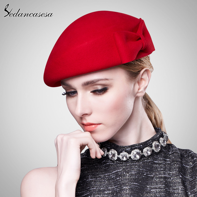 ee572eca70df1 Sedancasesa Vintage Women Ladies Elegant 100% Cloche Wool Hat Red Black  Beret Cap High-end Airline Stewardess Hats FW121003