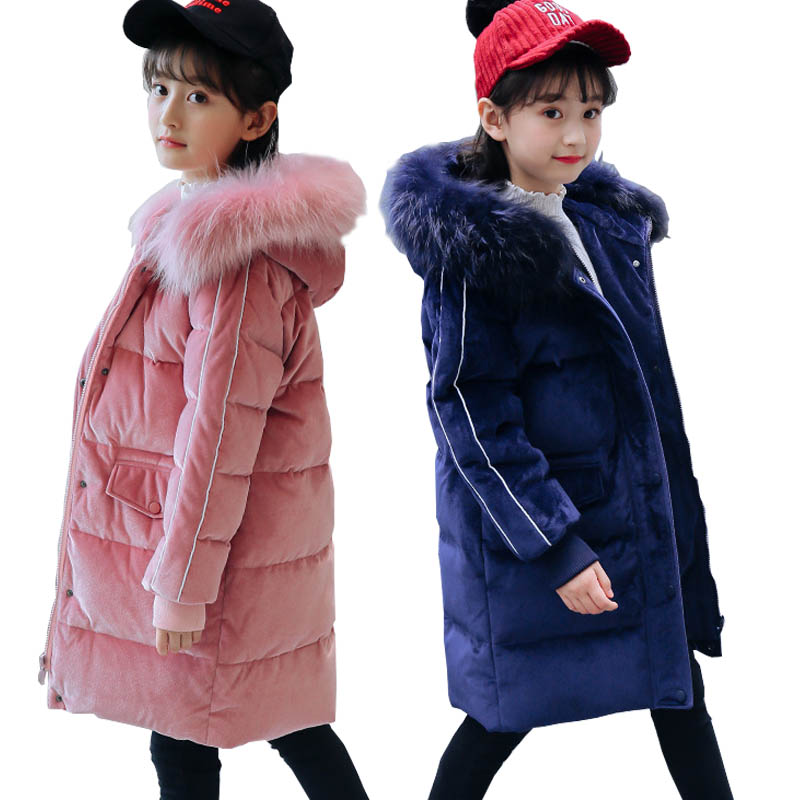 Girls Winter Coats for Kids Outerwear Fur Collar White Duck Down Jacket Parkas Teenage Girls Jackets Thick Children Clothing 12Y цена