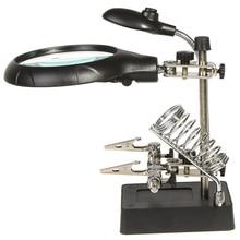 Лупы 2.5X 7.5X 10X светодиодный пайки увеличительное стекло лупа с подсветкой рабочего Лупа Рука помощи Вспомогательный зажим инструменты