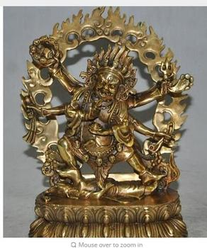 "Copper Brass CHINESE crafts decoration 9"" Tibet Buddhism bronze gilt 6 Arms Vajra Mahakala god Buddha Ganesha Statue"