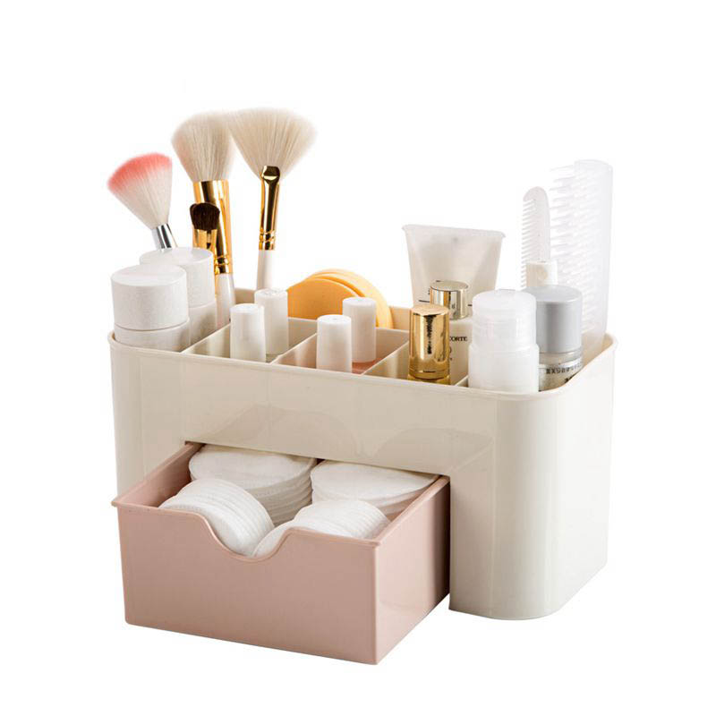 Hoomall Plastic Cosmetic Organizer Jewelry Box Makeup Storage Box With Small Drawer Home Desk Sundries Storage Containers vintage european korean princess jewelry box rose shape desktop storage box home decoration desk sets