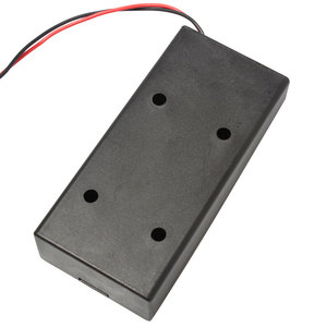 Image 4 - Caja de batería de plástico negro, 2 secciones, 18650, con interruptor, bricolaje, contenedor de soporte con Clip con cable de plomo, 1 ud.