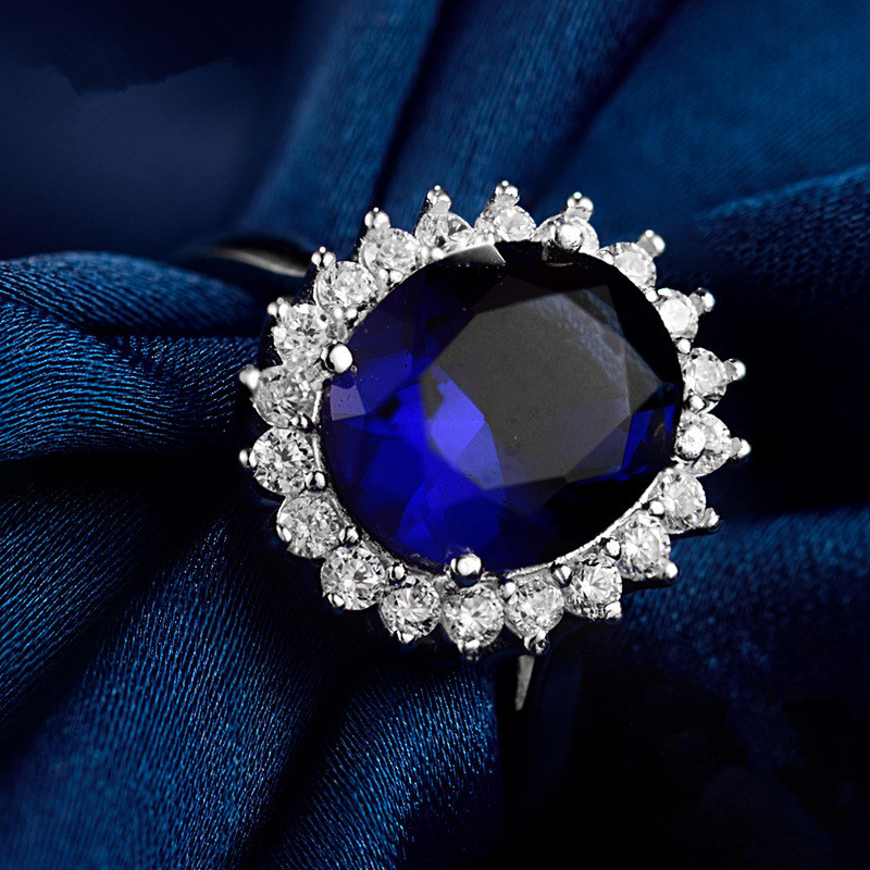 S925 Sterling Silver Ring Luxury huge blue Cubic Zircon wedding rings engagement ring for women jewelry anillos mujer