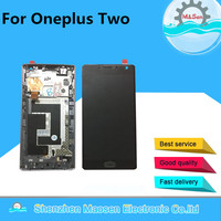 Original LCD Screen Display Touch Panel Digitizer With Frame Home Button Side Keys For Oneplus Two