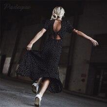 AEL платье с v-образным вырезом, завышенная талия, бант, короткий рукав, открытая спина,, летняя мода, женская одежда, высокое качество, Пляжное длинное платье