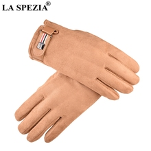 LA SPEZIA Leather Driving Gloves Men Windproof Autumn Suede With Buckle Male Khaki Velvet Winter Warm Mittens Adjustable