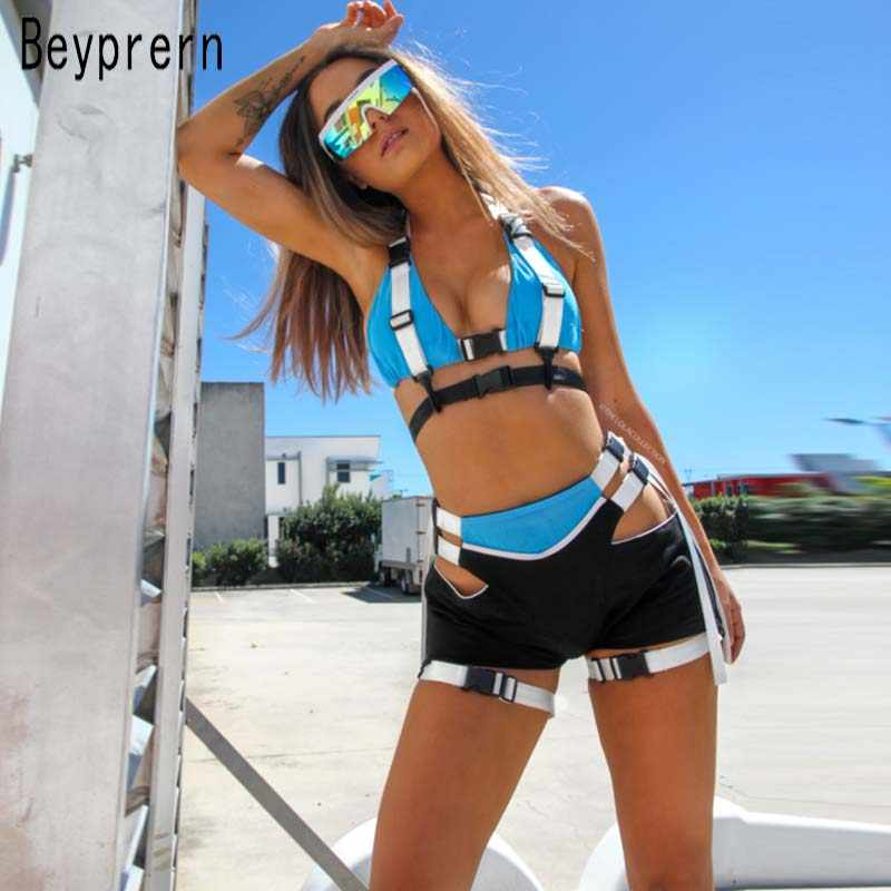 Beyprern Women Tracksuit Hollow Out Buckle Biker Shorts Set Two Piece Sexy Bustier Marching Set Festival Outfits Wholesale