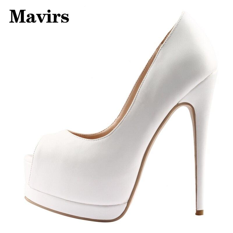 MAVIRS Brand 2018 Sexy Super High Heels Platform Stiletto Women Pumps Open Toe Glitter Pink White Dress Party Wedding Shoes
