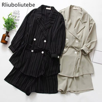 womens suits blazer with shorts black striped women shorts suits blazers two piece set with belt autumn work office lady suits