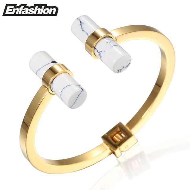 Enfashion Double White Marble Turquoise Cuff Bracelet Bangle Noeud armband Gold Plated Bracelets For Women Bracelets Bangles