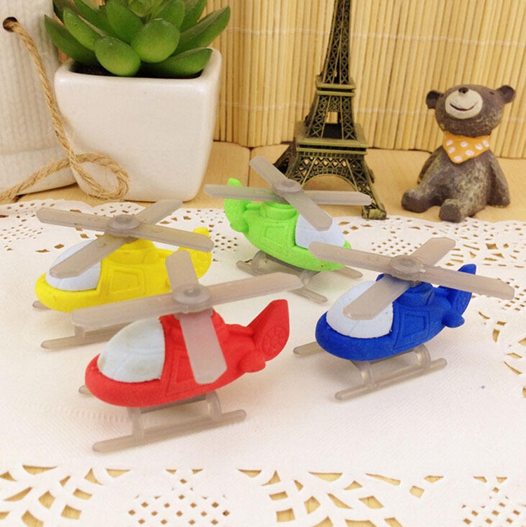 4pcs / Lot Novelty Helicopter Erasers , Plane Shaped Boys Eraser As School Stationary