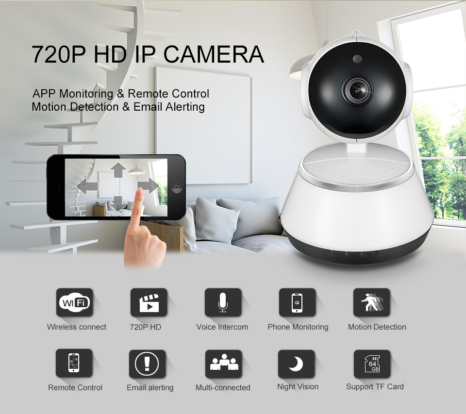 IP Camera WiFi Wireless Mini HD 720P Security Camera Baby Monitor & IR-CUT Surveillance Camera Motion Detection v380 App Control
