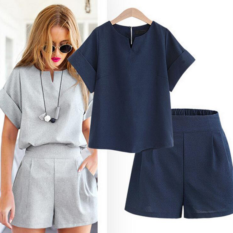 2019 New Fashion Spring Summer Women Two Piece Set Casual Cotton Tops+Short Soild Female Office Plus Size Suit Short Sleeve Sets