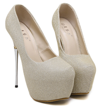 Platform Pumps Super High Heel Shoes Women Extreme Thin High Heels Party Wedding Shoes 16 CM Sequined Cloth