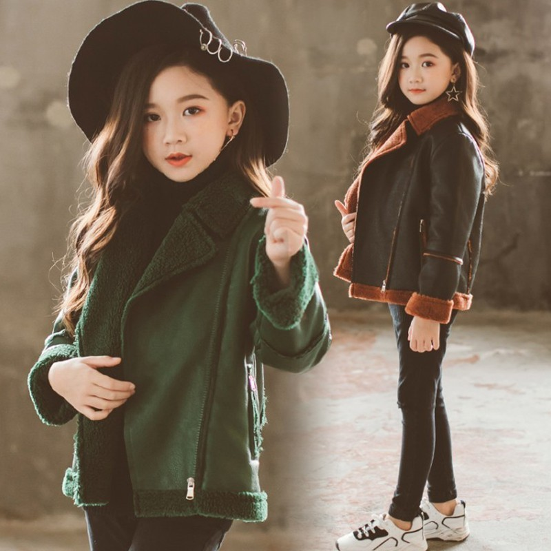 Girls Winter Jacket Fashion Windbreaker Outerwear Children's Thicken Fleece Coat Pu Warm Fur Coats Snow Overall Clothes For Girl 2018 girls clothing warm down jacket for girl clothes 2018 winter thicken parka real fur hooded children outerwear snow coats