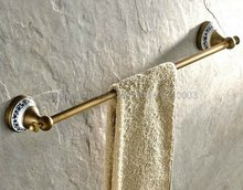 Antique Brass Wall Mounted Ceramic base Bathroom Single Towel Rack Bars Towel Bar Kba402 high quality bathroom towel holder with ceramic base brass towel rack 60cm towel shelf