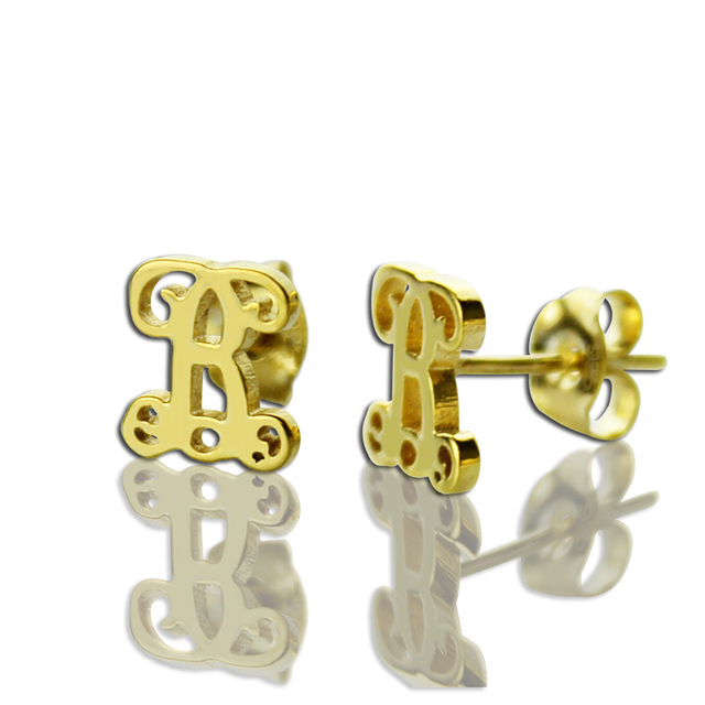 Ailin Gold Color Initial Stud Earrings Personalized Monogram Name Bridesmaid Mother Gift