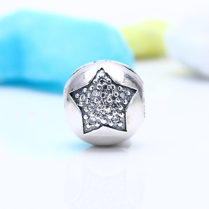100% 925 Sterling Silver Fit Original Pandora Bracelet Luxury Youre a Star Clip CZ Charm Beads for Jewelry Making