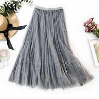 87188caf69710b YuooMuoo 2019 Summer Tulle Skirts Womens Gray Elastic High Waist Pleated  Midi Skirt Female Romantic Lace