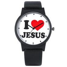 Новые часы серии I Love Jesus для мужчин, элегантные черные кварцевые часы с кожаным ремешком для женщин, модные мужские наручные часы с большим циферблатом