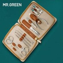 MR. зеленый 12 in1 маникюрный набор из нержавеющей кутикулы утилита набор маникюрных инструментов Nail Clipper Уход за лошадьми Комплект Уход за ногтями указан кусачки для ногтей