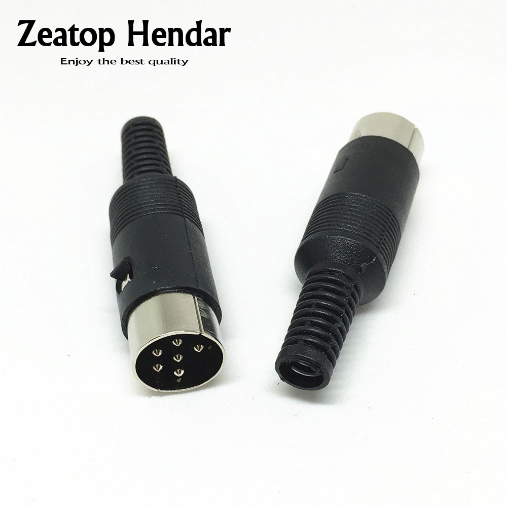 6 pcs 4 Pin DIN Plug DIN male Plug Cable Connector with Plastic Handle
