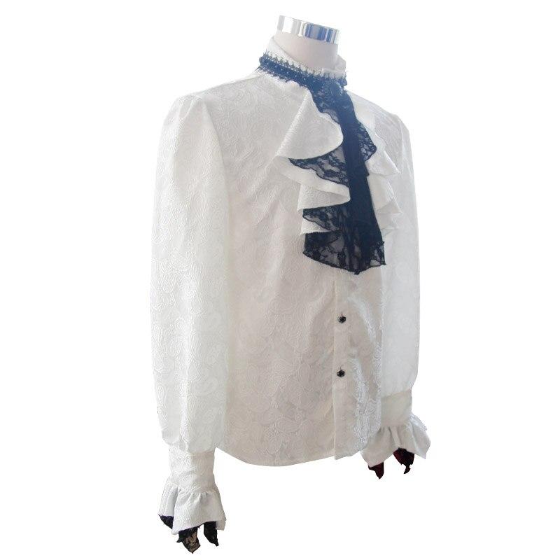Британский стиль Стимпанк Викторианский белые блузки с галстуком воротник размера плюс 3XL Готический мужской длинный рукав платье рубашка для мужчин - 5