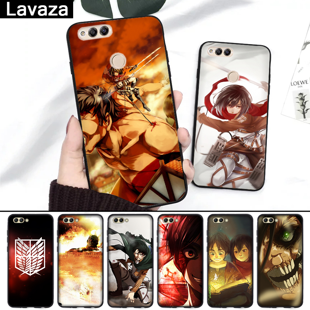 Lavaza 134FF Attack On Titan Anime Silicone Case for Huawei Honor 6A 7A 3GB Pro 7X 8 Lite 8X 8C 9 Note 10View 20 9X in Fitted Cases from Cellphones Telecommunications