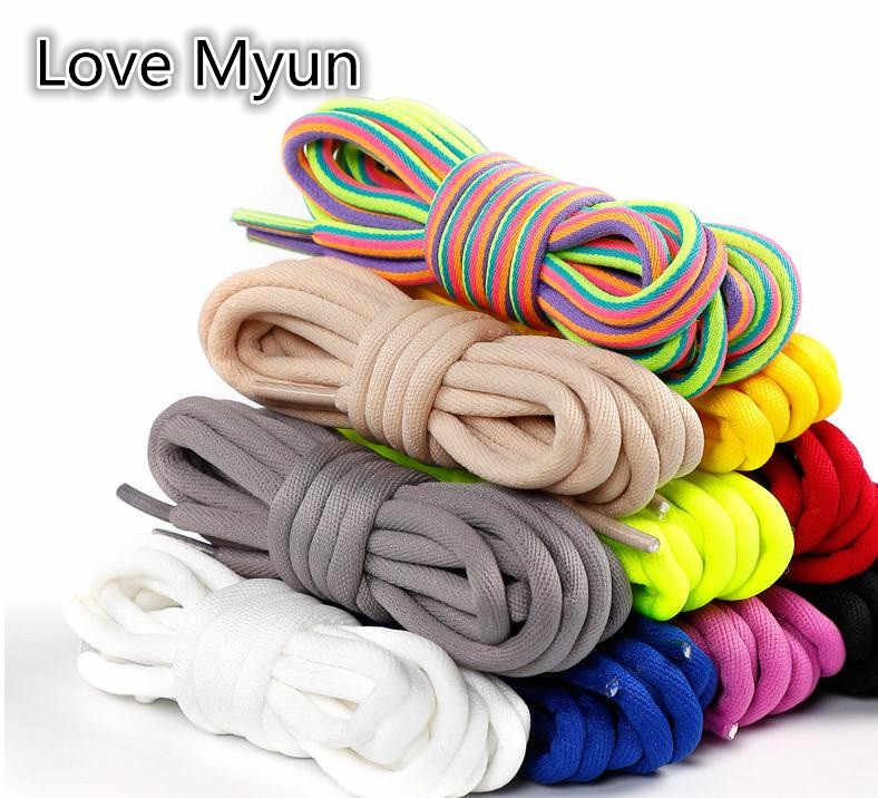 Round Shoelaces For Sneakers Casual Sports Dad Shoe Laces 100cm 120cm 140cm 160cm Multicolor Shoelaces White Black Red Blue Gray