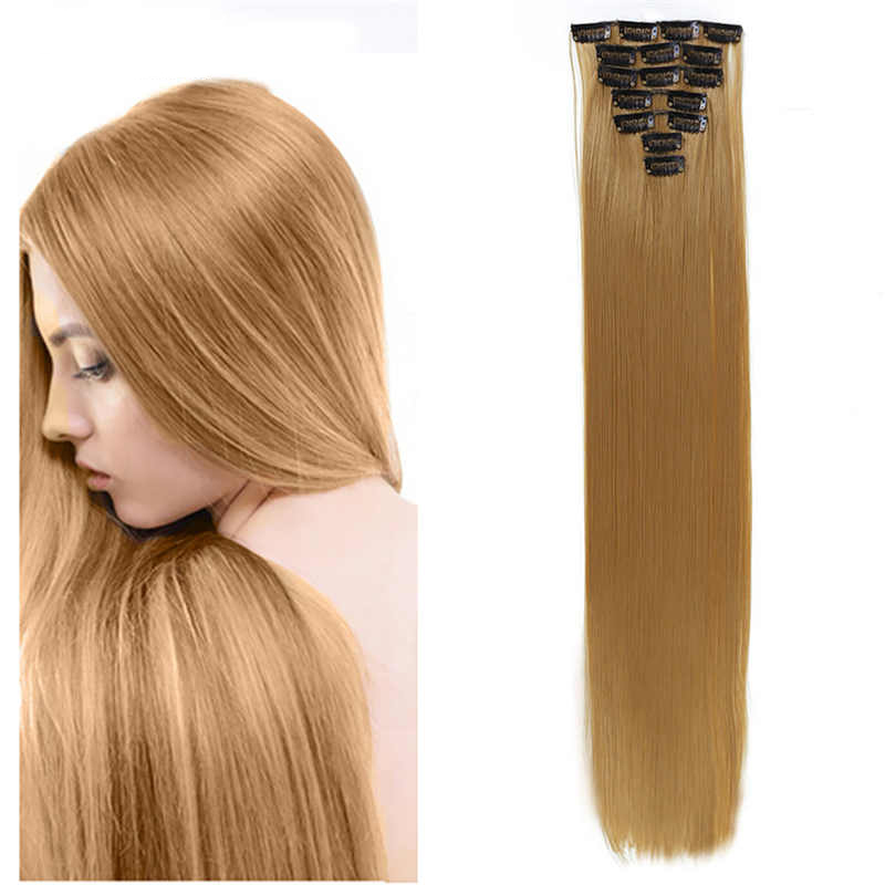 Dolls Romantic Cateleya 24 Long Straight Hair Extension 7pcs/set 16 Clips In On Hair Extensions Synthetic Heat Resistant Hairpiece Toys & Hobbies
