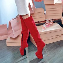 2014 new winter women sexy thick high-heeled shoes women's slim thin thigh boots knee High boots ultra high heel long boots V019
