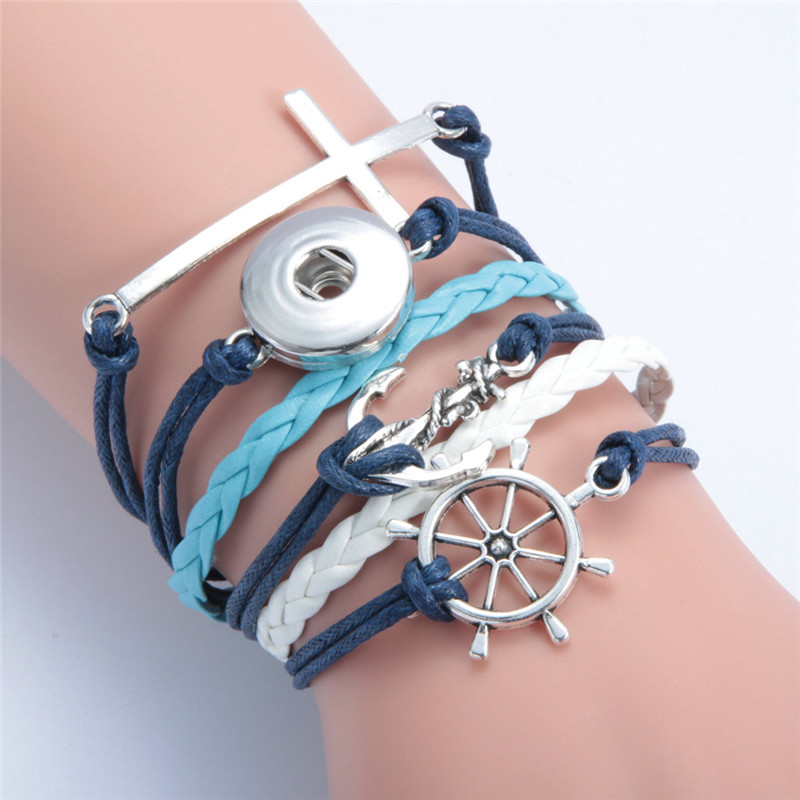 Fashion Cross Anchor Leather Metal Diy 18mm Snap Button Interchangeable Bangles Jewelry Snaps Mulitlayers Wrap Bracelet