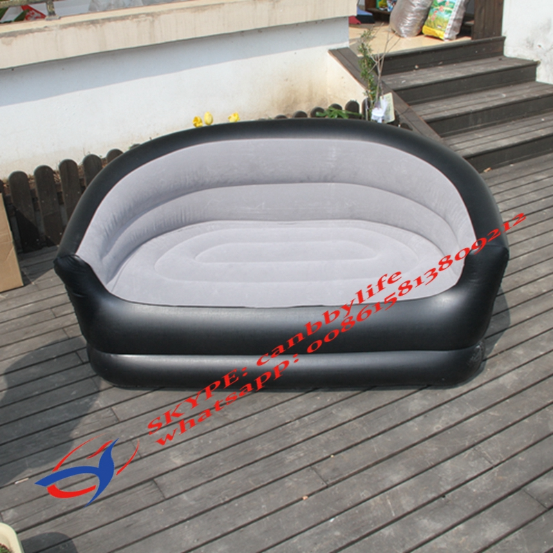 DOUBLE FLOCKED INFLATABLE GAMING CHAIR SOFA SEAT LOUNGER CAMPING RELAXING