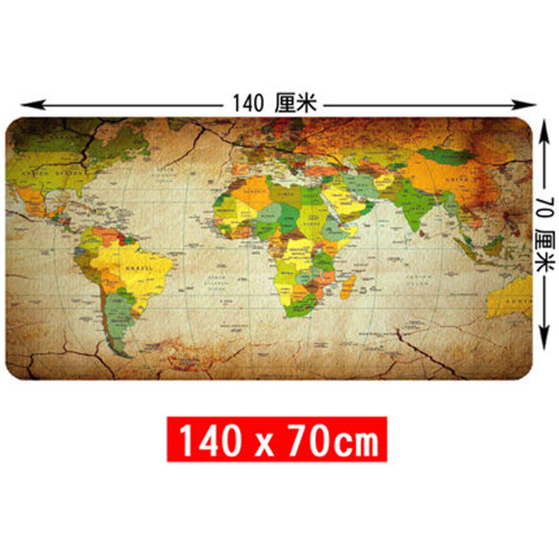 SIANCS Super grand 140 cm x 70 cm carte du monde tapis de souris jeu gamer gaming tapis de souris grand bureau coussin Table clavier protecteur tapis - 2
