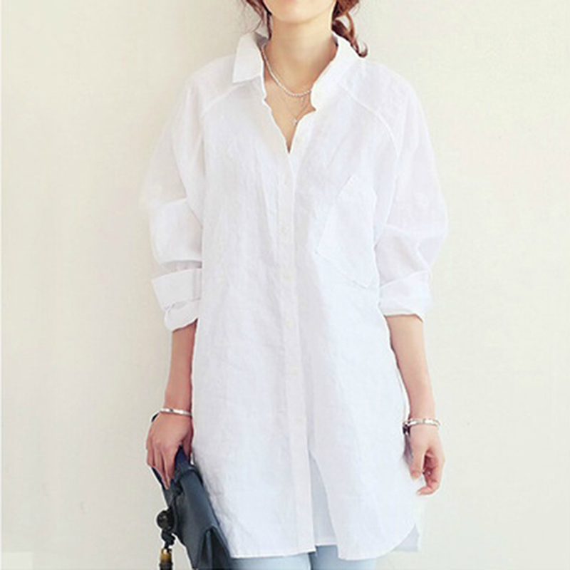 Women   Blouse     Shirt   2019 Spring Summer Woman   Blouses   Office Lady OL Elegant Loose Tops Large White Casual Linen Blusas