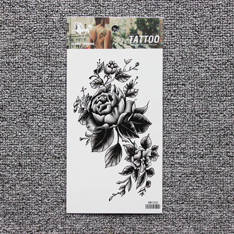 Black big flower Body tattoo Sticker 10*20CM 1