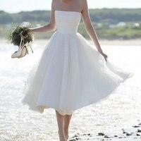 Sexy White Short Wedding Dress 2018 Ivory Wedding Gowns Strapless Tulle Zipper Beach Tea Length Low Price Women bridal Dresses