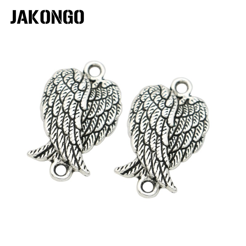 JAKONGO Antique Silver Plated Angel Wings Connector for Jewelry Making Bracelet Accessories Necklace Findings DIY spoon fork knife slice tableware shape diy alloy charm pendant crown antique silver vintage jewelry making accessories findings