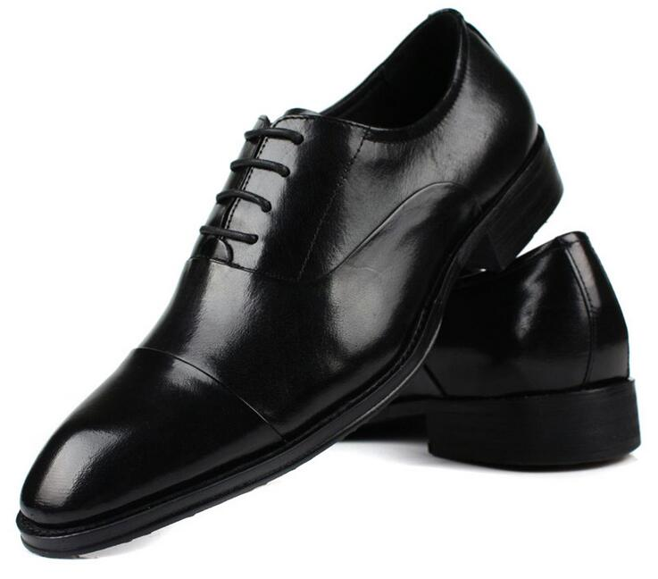 Size 45 46 Men Dress Genuine Leather Shoes Man Business Lace up Leather Shoes Pointed Toe Oxfords Men's Flats formal shoes plus size 2016 new formal brand genuine leather high heels pointed toe oxfords punk rock men s wolf print flats shoes fpt314
