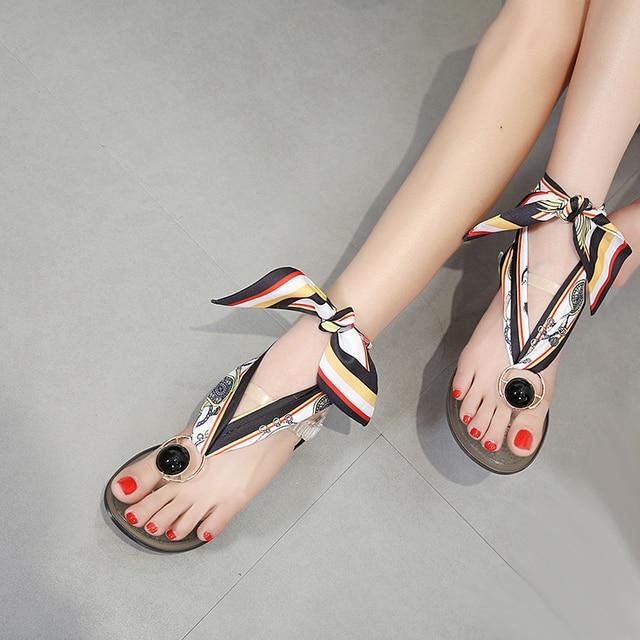 89140a6c979c1 Flip Flops 2018 Summer Jelly Shoes Designer Women Flat Sandals Color Ribbon  Bowknot Slippers Casual Transparent Beach Flip Flops