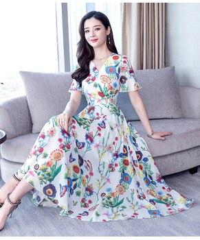 16ce85fb63eafa3 Product Offer. 16 цветов новые весенние шифоновые модные печатные женские  пляжные платья осенние с коротким рукавом ...