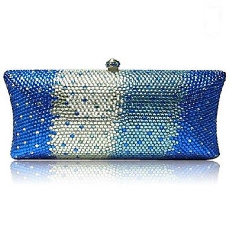 ФОТО S7735CB Blue in Gradual change effect Crystal Lady fashion Bridal Metal Evening purse clutch bag case handbag box