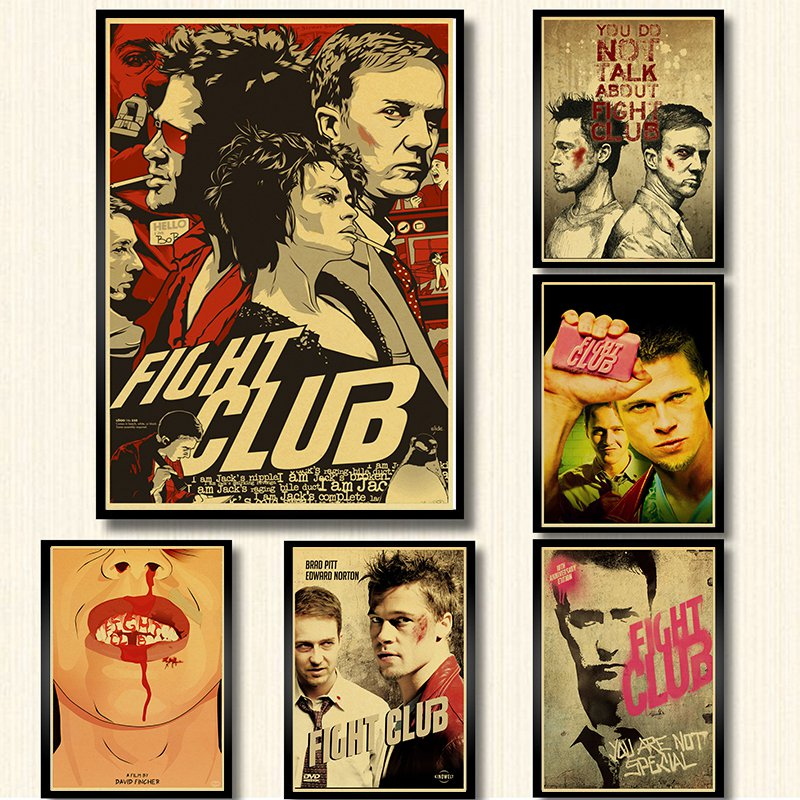 Classic Movie Fight Club Poster Kraft Paper Retro Style Wall Decoration Home Decor Wall Art Poster Sticker