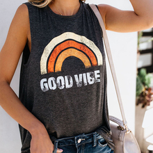 5xl 4xl Rainbow print women t shirt o neck sleeveless summer 2019 fashion letter GOOD VIBE loose tee plue size harajuku tunic plus letter print striped tunic tee